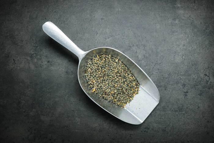 Dark speckled lentils