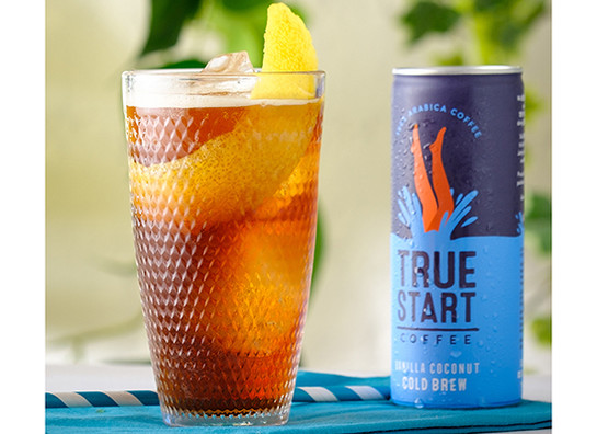 Truestart cold brew coffee   vanilla coconut   poured