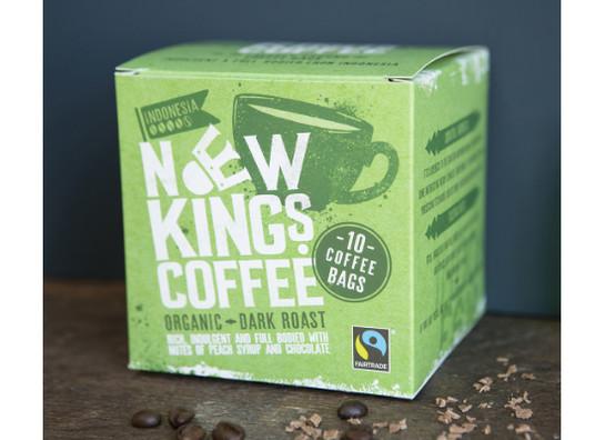 New kings coffee bags fairtrade organic dark roast 10 v1